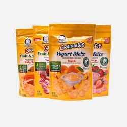 【包邮包税】美国Gerber嘉宝水果味酸奶溶豆宝宝零食辅食4袋装口味随机