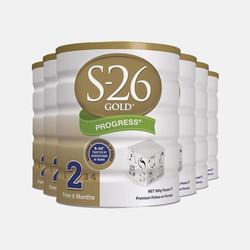 澳洲直邮【包邮包税】Wyeth惠氏S-26 金装婴幼儿配方牛奶粉2段 (6-12个月) 900g*6罐